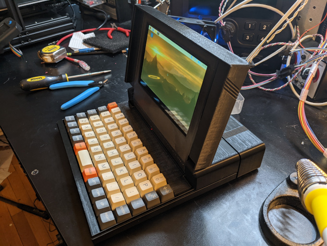 the completed Griz Sextant computer from the side with lid open